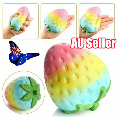 Simulation Rainbow Strawberry Super Jumbo Scented Squishy Slow Rising Fun Toy MN