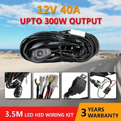 LED Light Bar Wiring Harness Kit 12V 40Amp Relay ON-OFF Rocker Switch Jeep 1Lead