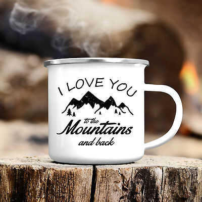 Campingbecher Love You To The Mountains Emaille Tasse CB312 Outdoor Berge Kaffee