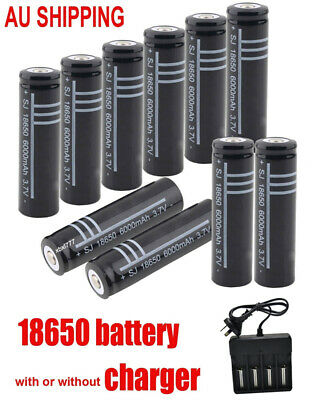18650 Battery 6000mah Rechargeable Batteries 3.7V Li-lion / Charger AU plug