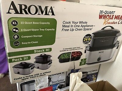 AROMA WHOLE MEAL Roaster Oven, 30-Quart Features 30-qt XL capacity:  22-qt    New
