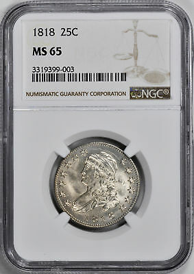 1818 Capped Bust 25C Ngc Ms 65