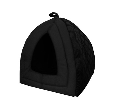 Fleece Folding Dog Cat Puppy Kitten Pet Igloo Cave House Tent Bed Black Large