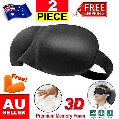 2x 3D Sleeping Eye Mask Blindfold Sleep Travel Shade Cover Rest Light Blinder AU