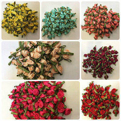 Satin Ribbon Roses Buds Embellishments Large 24 Colours