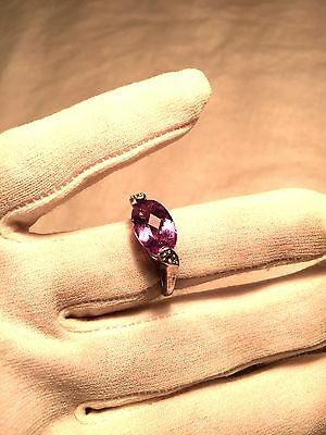 Genuine Amethyst Real White Sapphire Vintage 925 Sterling Silver Size 6.25 Ring