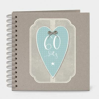 East of India Italic Heart Keepsake Memory Book 60 Birthday Sixty