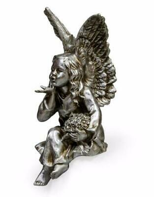 Large Kissing Cherub Angel Silver Kiss Figurine Ornament Wings Shelf Sitter 41cm