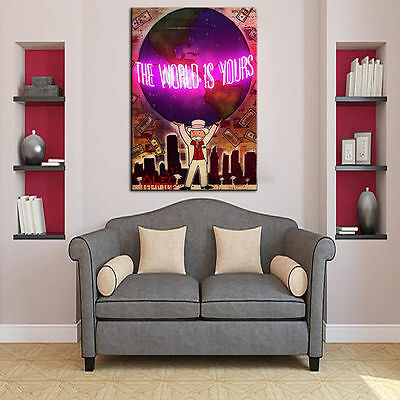 """Alec Monopoly Oil Painting on Canvas Urban art wall decor  """"The world is yours"""""""