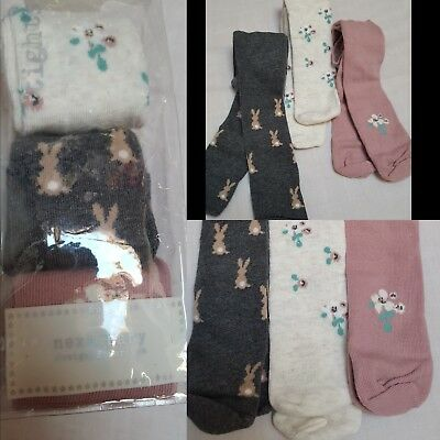 NEW⭐BNWT NEXT Baby Girl Newborn 0-3-6 months Cotton Blend Bunny Floral Tights x3