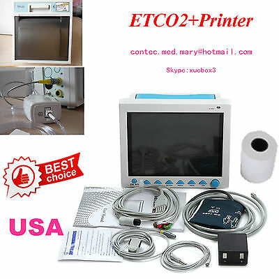 ICU Patient monitor CO2 Vital Signs Monitor 6 Parameters with Printer+ETCO2,HOT