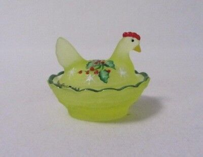 Boyd Glass Chicken  Hen On Nest Vaseline Satin Glows Hp & Signed Salt Dip Cellar