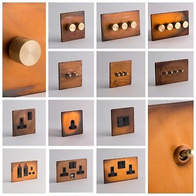 DESIGNER SOCKETS AND SWITCHES - Tarnished Copper with Gold