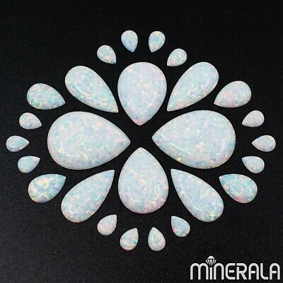 [Wholesale] Lab Created Opal White And Sky Blue Pear Cabochon Various Sizes