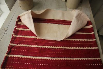 Antique Folk Art textile pillow cover sack hand woven red striped aged old