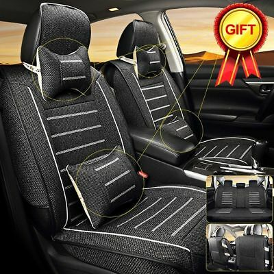 Black L Size Cooling Linen Seat Covers 5 Seats Car SUV Full 4pc Pillow Gifts Set