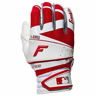 Franklin Sports Freeflex Pro Series Batting Gloves White / Red Adult Pair