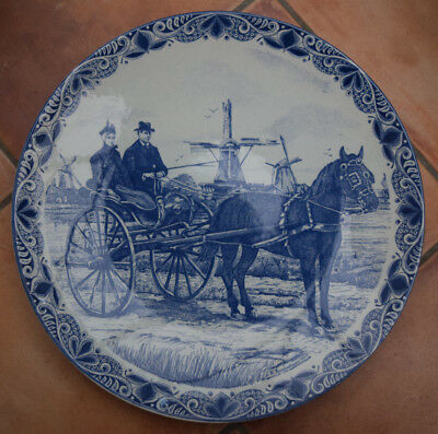 Very Large Delfts Blauw Holland Blue & White Pottery Charger Wall Hanging Plate