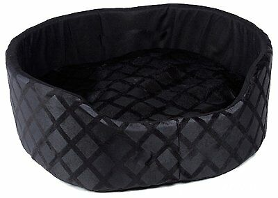 Soft Warm Round Dog Cat Puppy Kitten Pet Bed Basket Cushion Luxury Fleece Black
