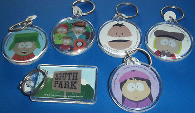 South Park ~ Set Of Six Plastic Disc Key Rings, ~ Brand New, Never-Been-Handled