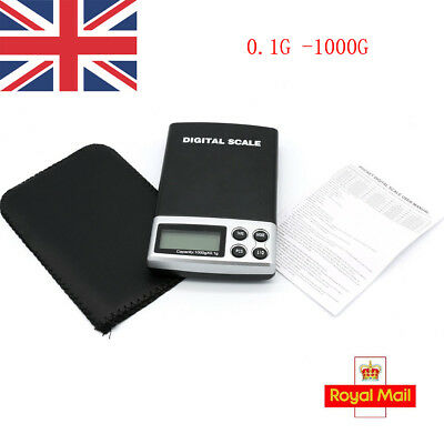 UK SELLER Digital Electronic Pocket Gold Jewelry Coin Weighing Scale 0.1G -1000G
