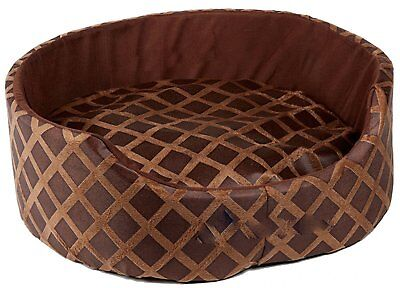 Soft Warm Round Dog Cat Puppy Kitten Pet Bed Basket Cushion Luxury Fleece Brown