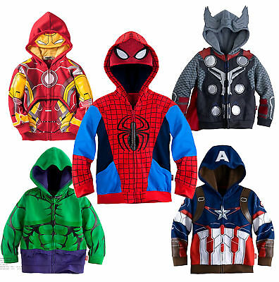 Toddler Kids Boys Hooded Jacket Coat Superhero Zipper Sweatshirt Hoodie Outwear