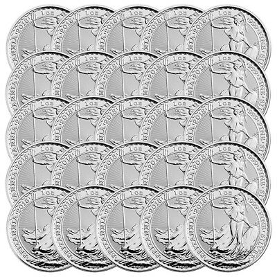 Lot of 25 x 1 oz 2018 Britannia Silver Coin