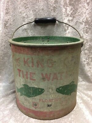 EARLY MINNOW BUCKET King Of The Waters Great Fish Graphic And Patina