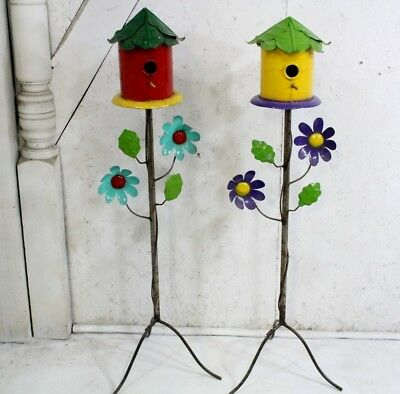 "45"" Recycled Metal Birdhouse Shelter Home for Birds"