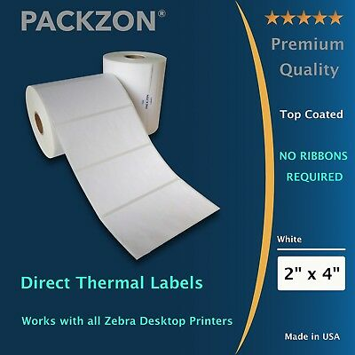 2 Rolls 4x2 Direct Thermal Shipping Barcode Labels 700 / Roll Zebra 2844 ZP450
