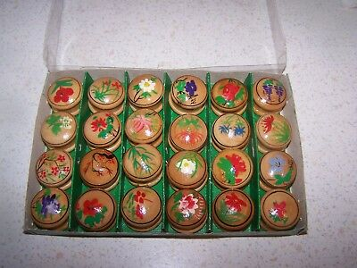 Joblot 24 Colourful Flower Design Painted Wooden Trinket Pill Boxes Very Pretty
