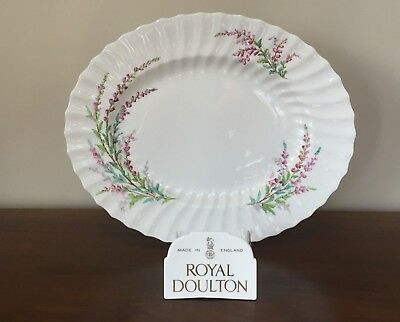 "Royal Doulton BELL HEATHER SCALLOPED 14"" Oval Serving Platter"