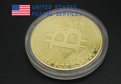 4X Bitcoin Gold Plated Physical Commemorative Bitcoin Protective Acrylic Case US