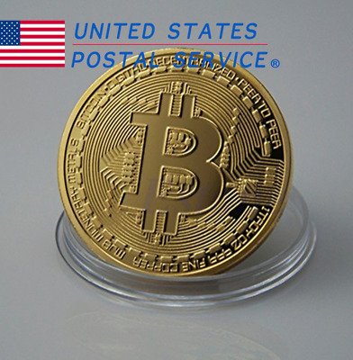 8X Bitcoin Gold Plated Physical Commemorative Bitcoin Protective Acrylic Case US