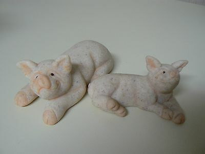 Second Nature PUGSLY #45903 & PATCH #45904 Pig Figurines (set 2) NEW with Boxes