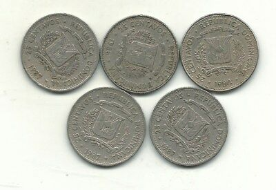 Very Nice Lot 5 Dominican Republic 25 Centavos-1984,1986,(2) 1987-Jan415