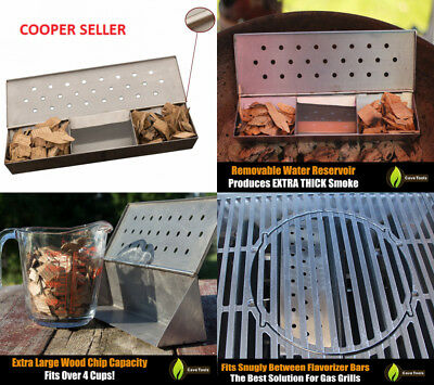 V Shaped Smoker Box Large - 25% THICKER STAINLESS STEEL & REMOVABLE WATER...