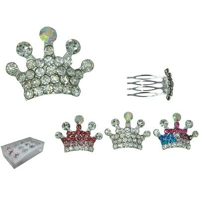 12pcs Mini Tiny Rhinestone Small Crown Hair Comb Tiara Wedding Bridal prom Lots