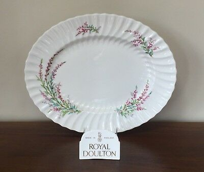 "Royal Doulton BELL HEATHER SCALLOPED 17"" Oval Serving Platter (A)"