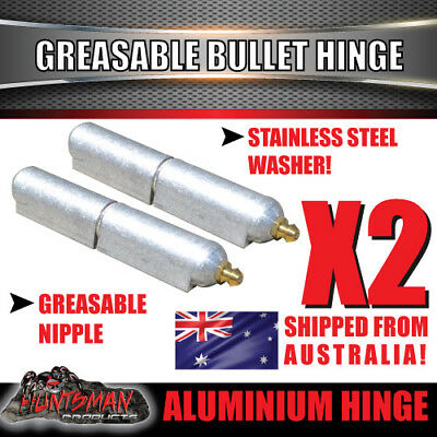 x2 80mm x 13mm Aluminium Greasable Bullet Hinges S/S Pin & Washer Tailgate Door