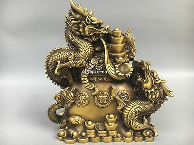 12''Classica Brass Home Fengshui chinese folk treasure bowl and two Dragon
