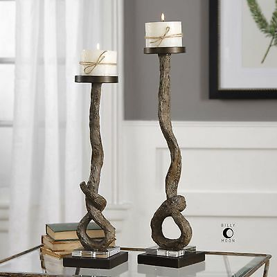 Two Rich Driftwood Look Pillar Candle Holder Candle Stick Rustic Aged Old World