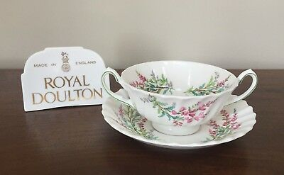 Royal Doulton BELL HEATHER SCALLOPED Footed Cream Soup Bowl & Saucer Set(s)