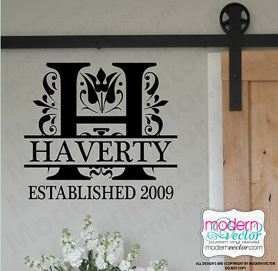 Initial Monogram Personalized Family Name Est Date Vinyl Wall Decal Love Couples