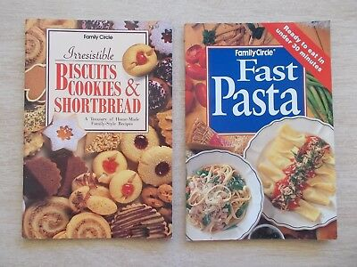 2 x Family Circle S/F Cookbooks~Pasta~Biscuits Cookies & Shortbread~2 x 64pp P/B