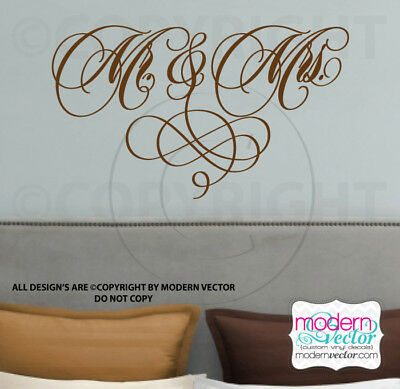 Mr. and Mrs. Vinyl Wall Decal Lettering Husband Wife Love Wifey Hubby & Decor