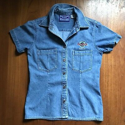 Vintage Hard Rock Cafe Kowloon Shirt Denim Jean Chambray Fitted Women M