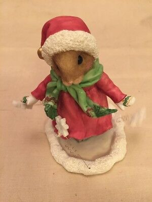 """Enesco Priscilla's Mouse Tales """"Let It Snow"""" Christmas Girl Skating Figure 1996"""