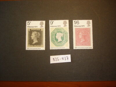 GB Stamps 1970 'Philympia 70' Stamp Exhibition SG835-837 MNH